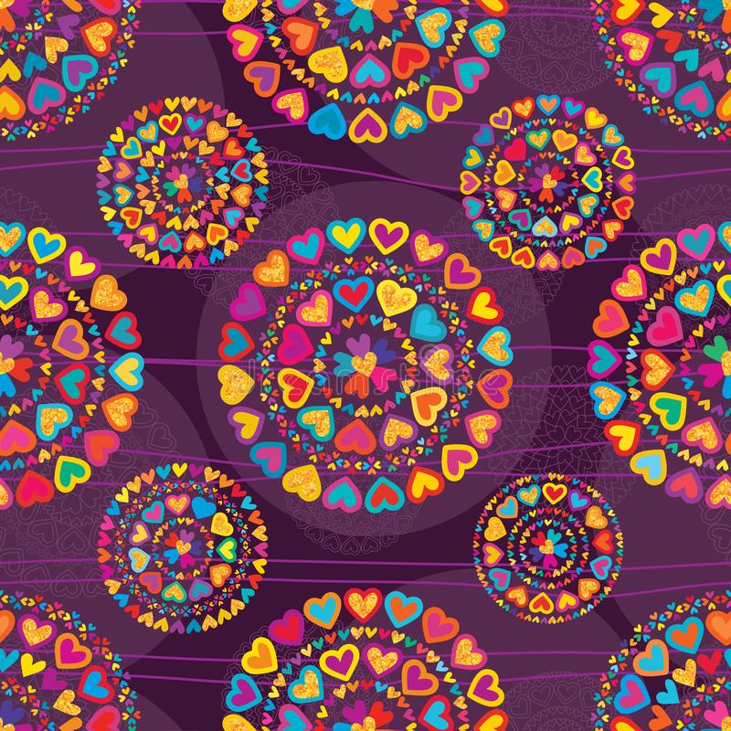 Love colorful glitter symmetry purple seamless patterm. This illustration is design mandala love colorful with glitter and symmetry decoration with line royalty free illustration