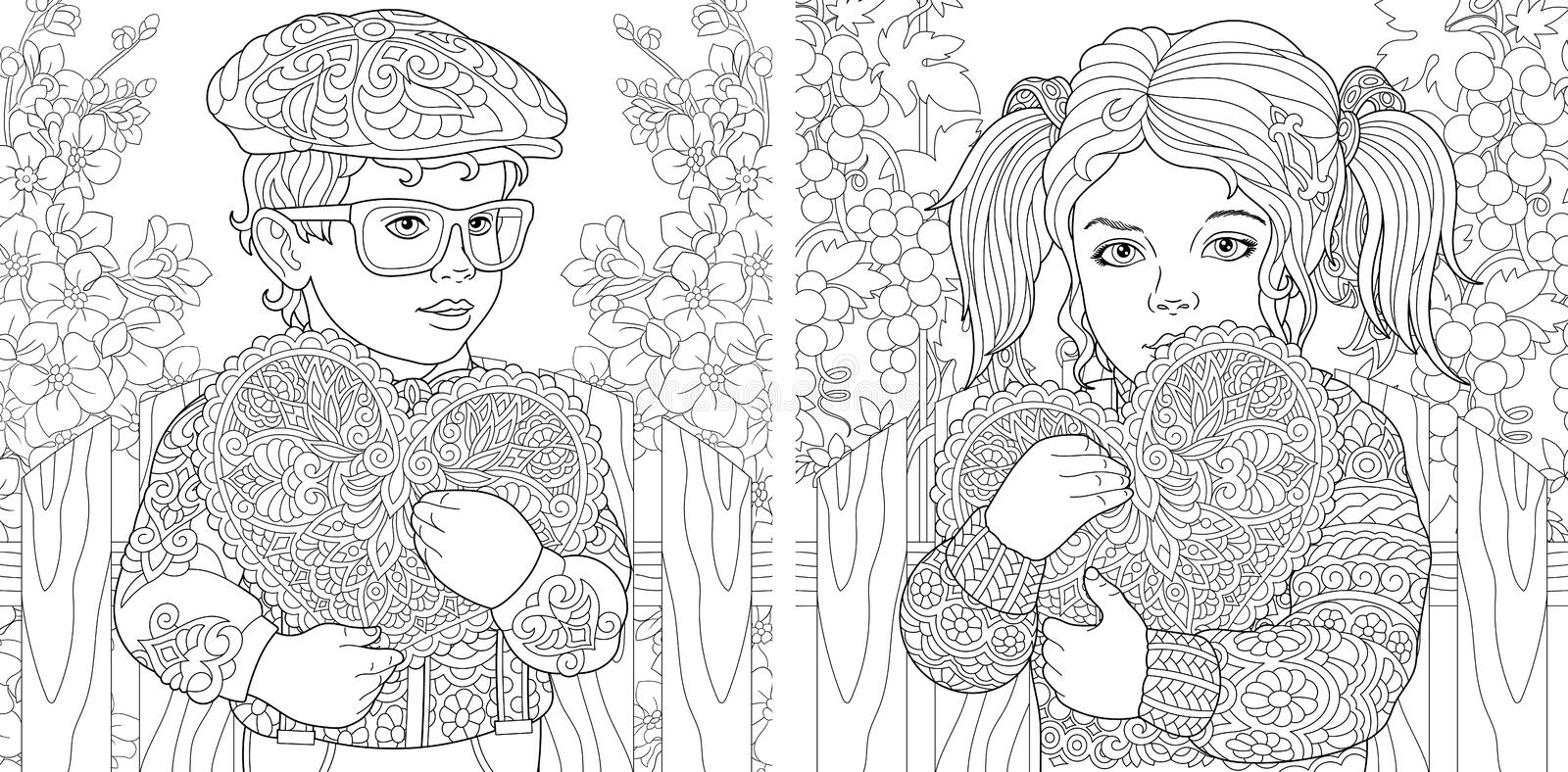 Love. Coloring Pages. Coloring Book for adults. Colouring pictures with lovely kids holding valentines day hearts. Vector stock images