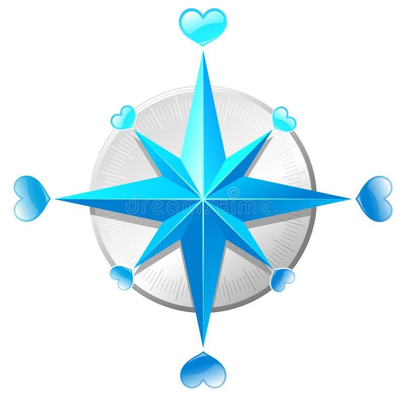 Love compass vector illustration