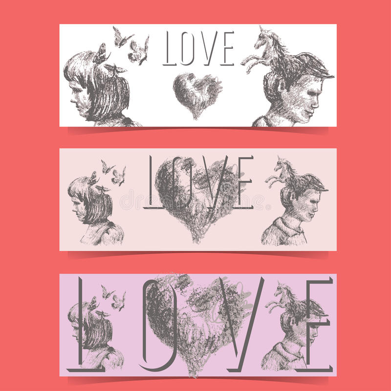 Love concept banners stock illustration