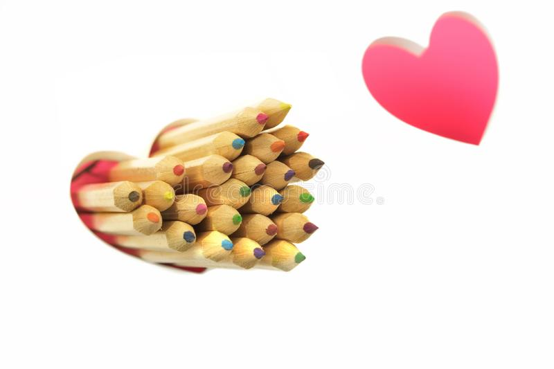 Love Concept. Color Pencls, Two Love Heart, White Background royalty free stock image