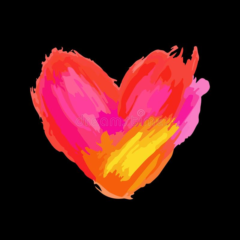 Love concept, colorful heart with paint strokes and splashes, grungy royalty free illustration