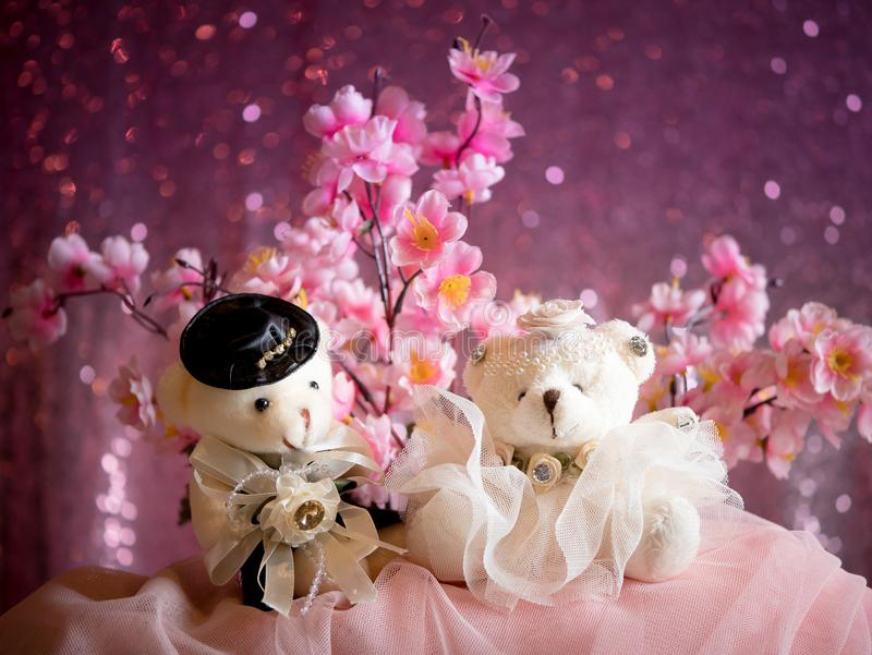 Love concept : Couple Teddy Bears in wedding dress , valentine stock image