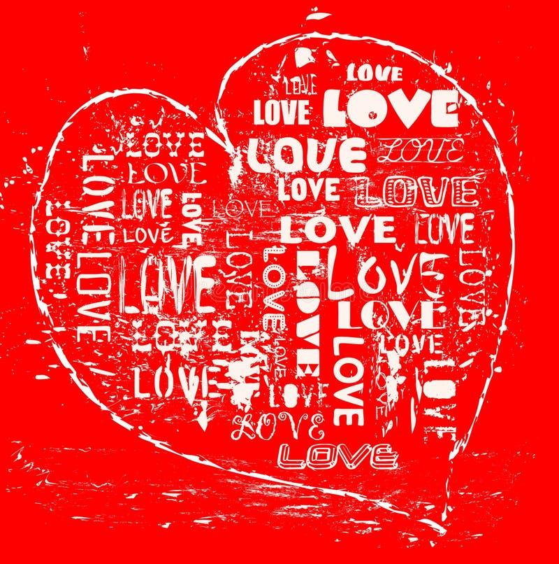 Love concept, grungy heart stock illustration