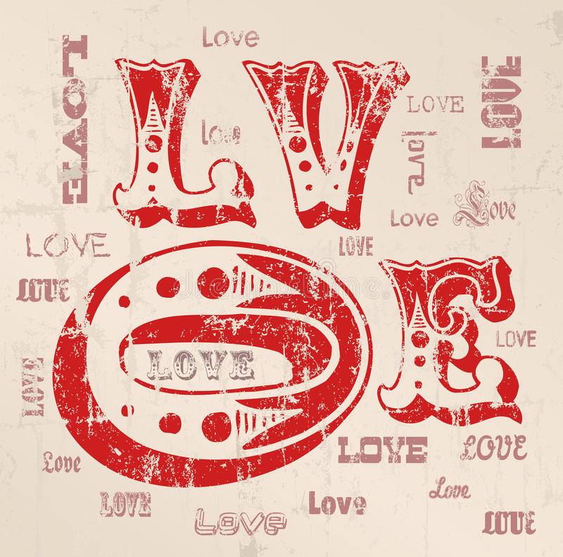 Love concept, grungy vector illustration