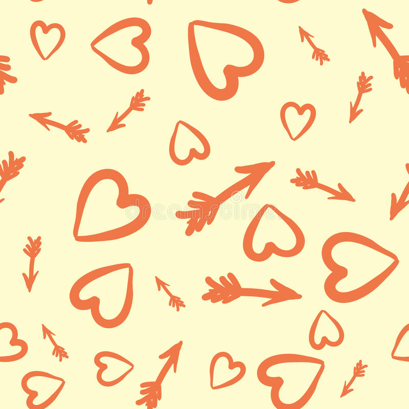 Love Concept. Heart and Arrows Seamless Tile royalty free illustration