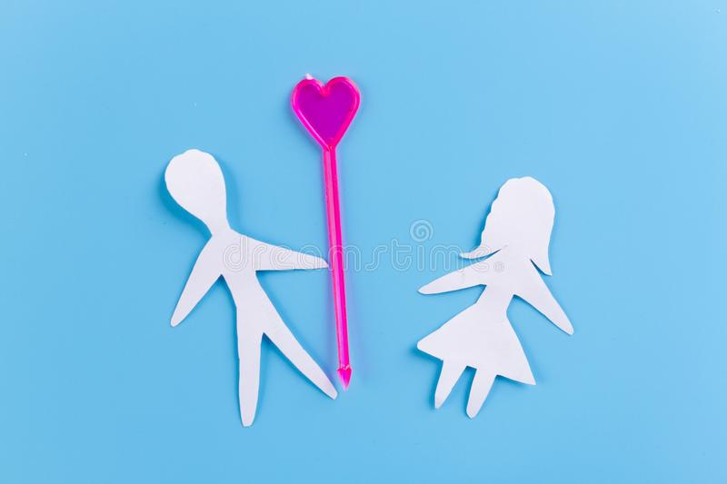 Love concept image. Paper boy and girl stock photos