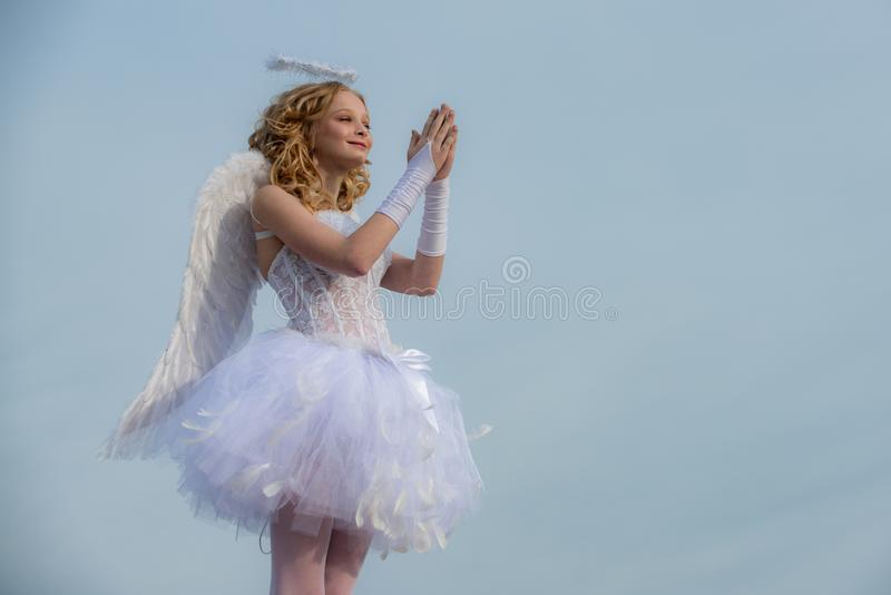 Love concept. Pretty white little girl as the cupid congratulating on St Valentines day. Cherub. Valentines day. royalty free stock photos