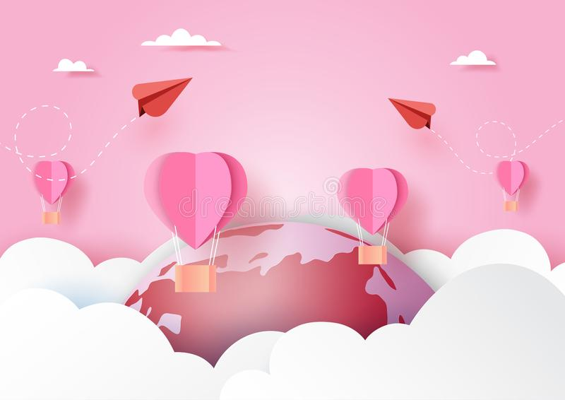 Love concept with red couple airplane and pink hot air balloons floating on clouds,world and pink sky paper art style.Vector vector illustration