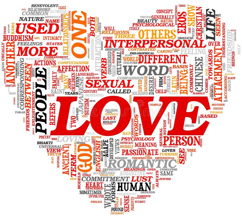 Love concept in tag cloud. Love related words concept in tag cloud in heart shape stock illustration
