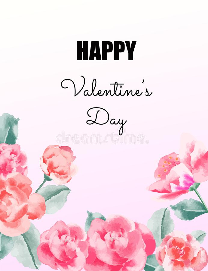 Love concept, Valentine& x27;s day background. Flower frame. Vector illustration. Wallpaper, invitation, posters. stock illustration
