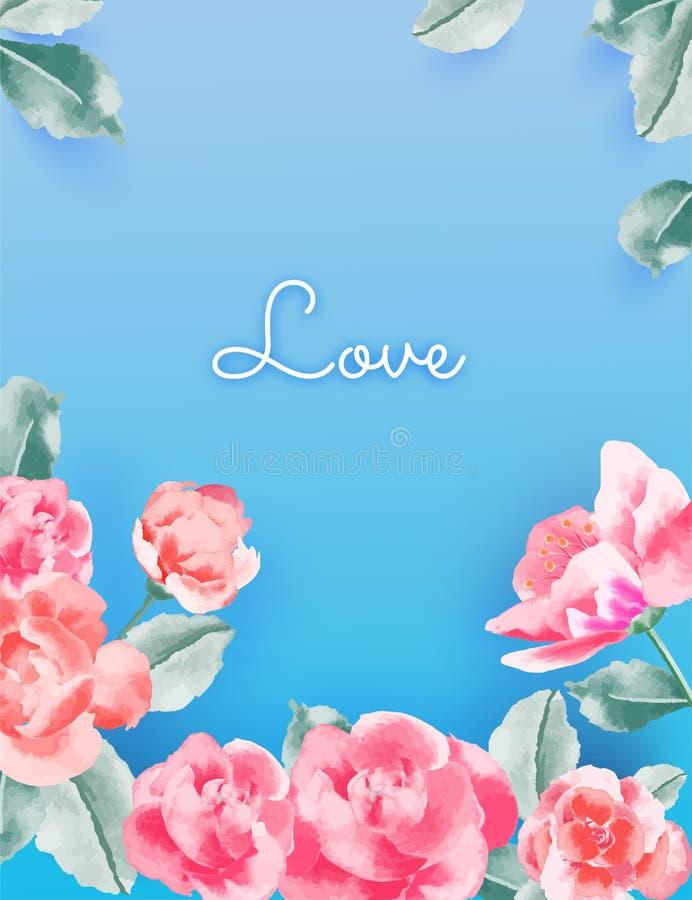 Love concept , Valentine`s day background. Flower frame. Vector illustration. Wallpaper, invitation, posters vector illustration
