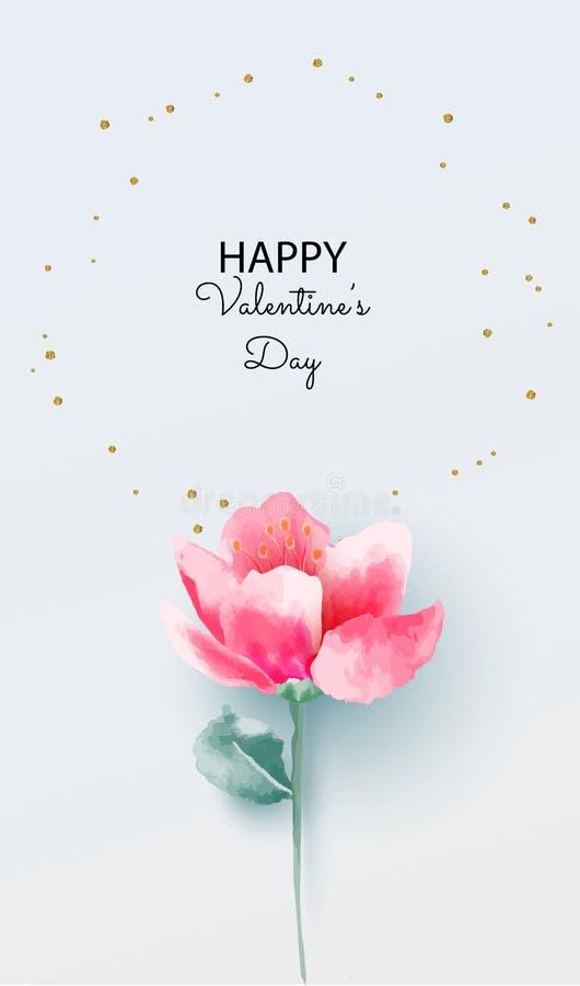 Love concept, Valentine`s day background. Pink flower on pastel background. Vector illustration. Wallpaper, invitation, posters. vector illustration