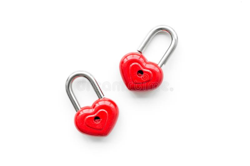 Love concept. Valentine`s day symbol. Locks in shape of heart on white background top view copy space stock photo