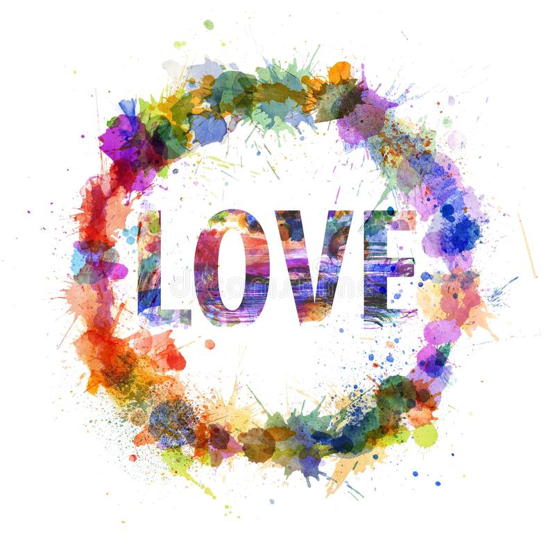Free Love Concept, Watercolor Splashes As A Sign Royalty Free Stock Image - 31383626