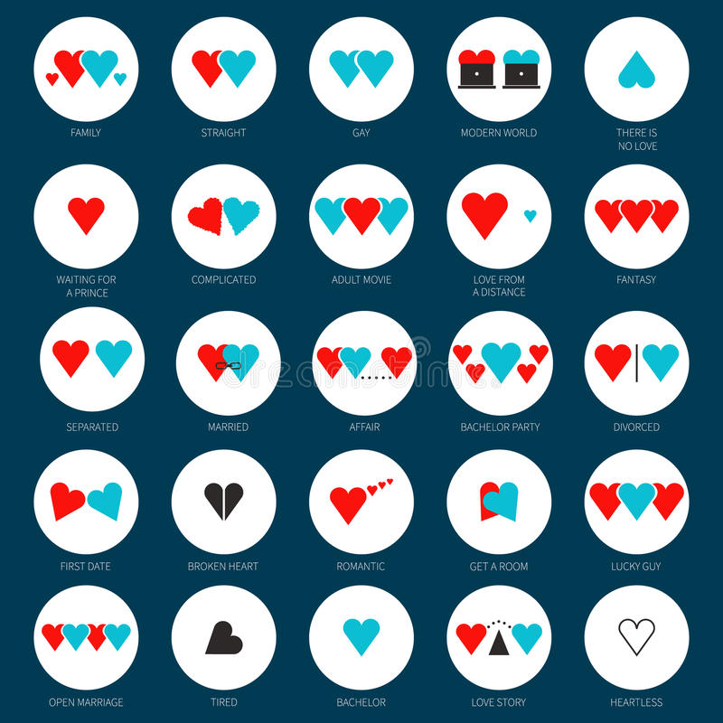 Love Conept. Creative modern concept of different types of love, relashions, families. Flat illustration of marriage, gay, straight. Hearts representing love vector illustration
