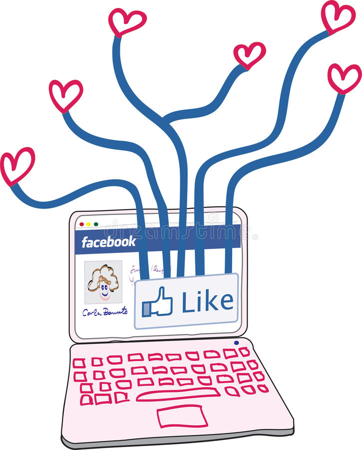 Love connections through Facebook. Illustration of a laptop with Facebook page connecting to love hearts. Additional format download contains Adobe Illustrator