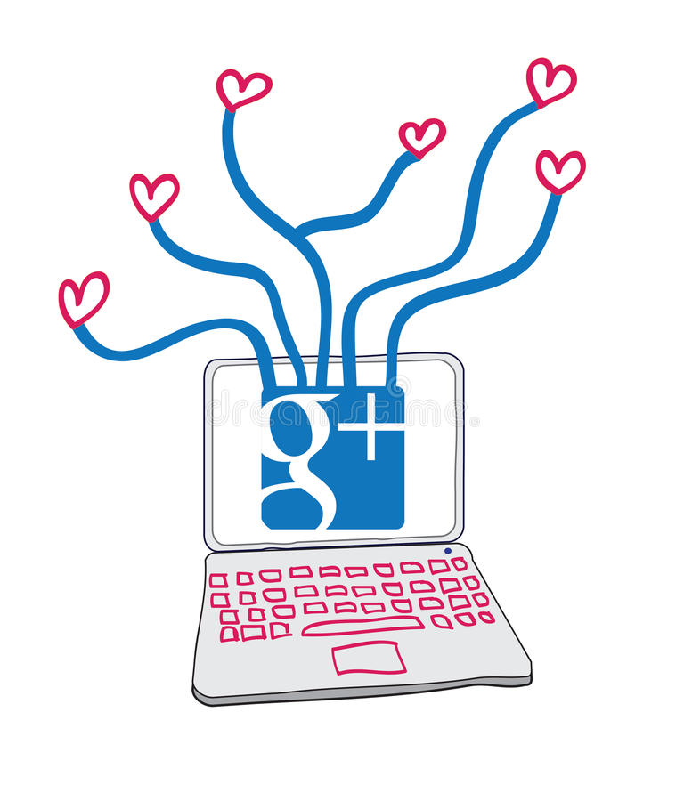 Love connections through Google+. Illustration of a laptop with Google plus icon connecting to love hearts. Additional format download contains Adobe Illustrator