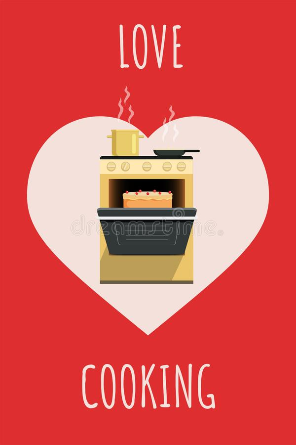 Love cooking flat poster vector template. Culinary banner design, recipe book cover concept. Kitchen stove and open oven royalty free illustration