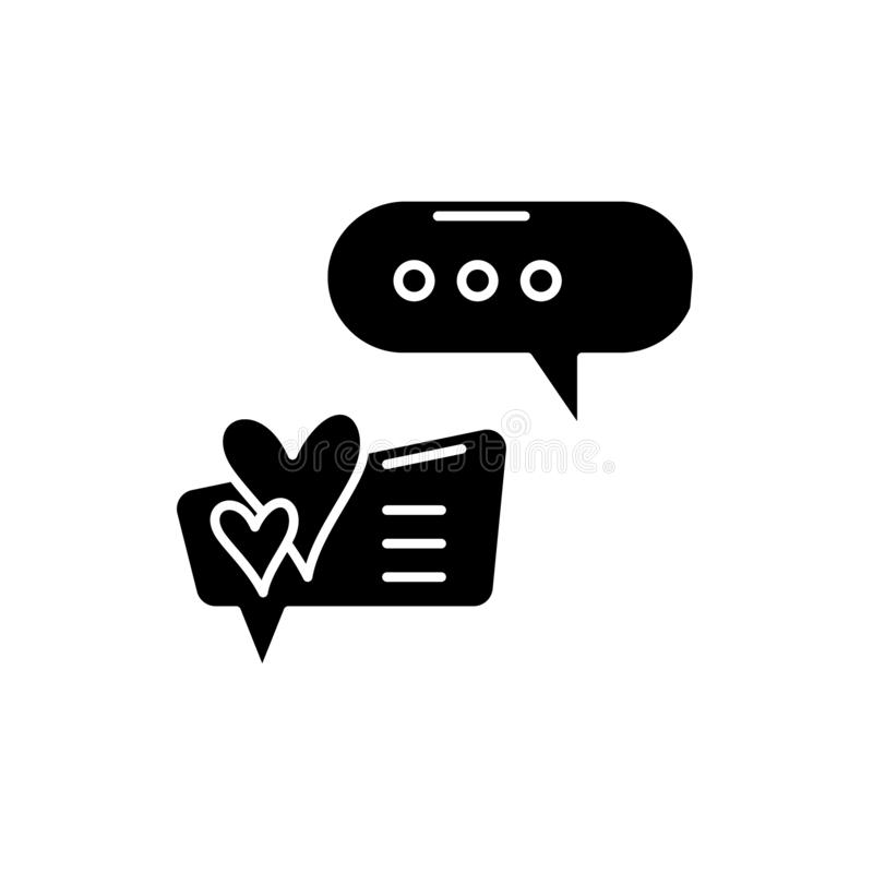 Love correspondence black icon, vector sign on isolated background. Love correspondence concept symbol, illustration. Love correspondence black icon, concept royalty free illustration