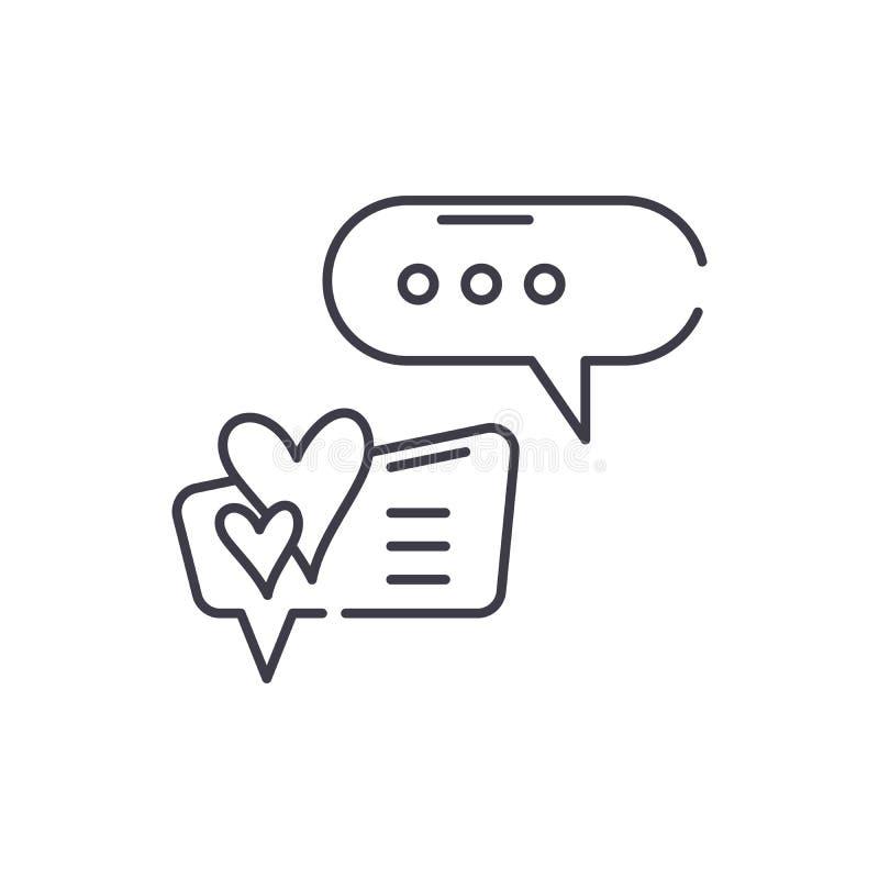 Love correspondence line icon concept. Love correspondence vector linear illustration, symbol, sign. Love correspondence line icon concept. Love correspondence vector illustration