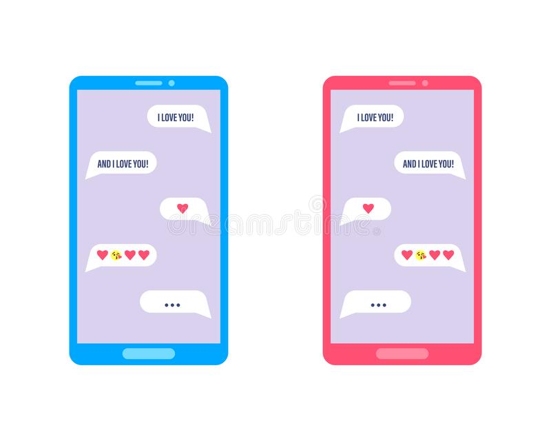 Mobile phone with love chat communication. Woman and man romantic conversation in a chat on the phone. Vector royalty free illustration