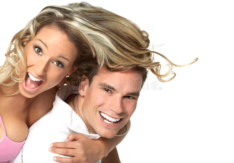 Love coulple. Young love couple smiling. Over white background royalty free stock images