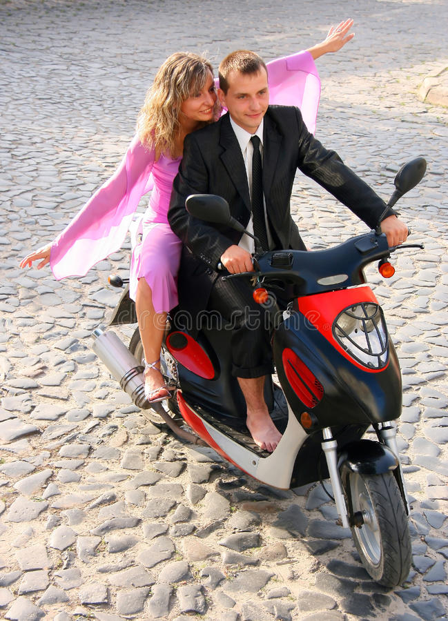 Download Love couple stock image. Image of motorbike, moped, pavement - 26264771