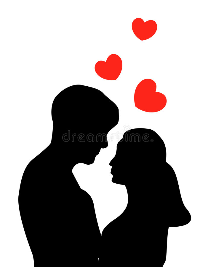 Love couple. Silhouette of a couple and red hearts royalty free illustration