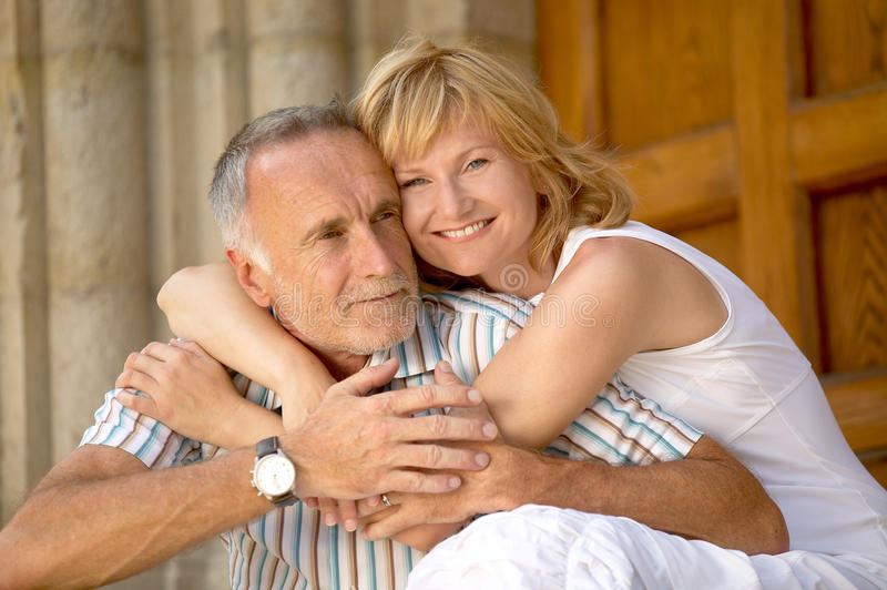 Love couple with age difference. Couple with big age difference royalty free stock images