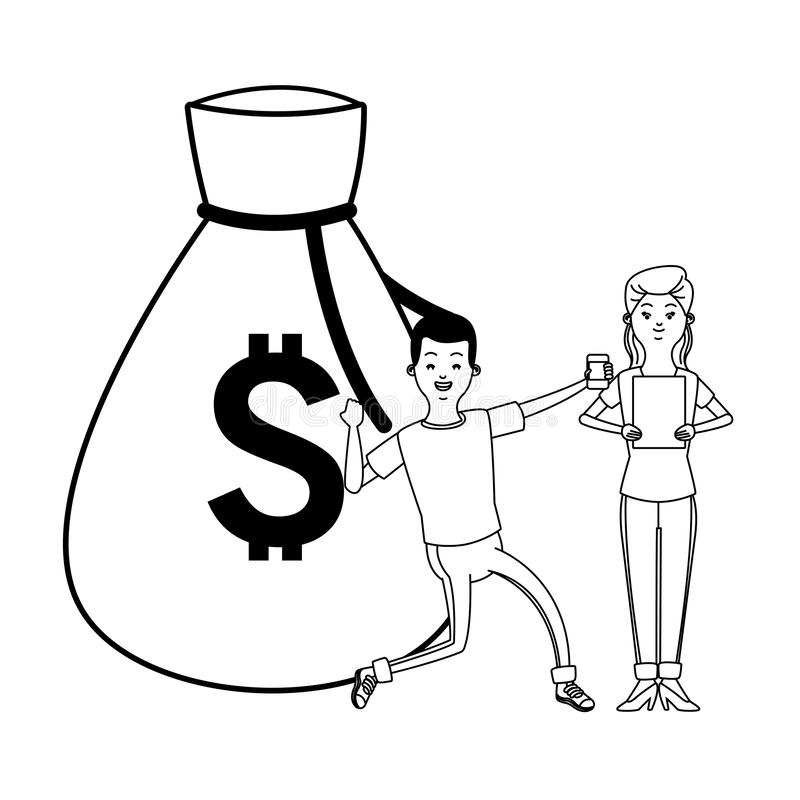 Love couple cartoon in black and white. Love couple young people using technologysmartphone an tablet making money investment cartoon vector illustration graphic vector illustration