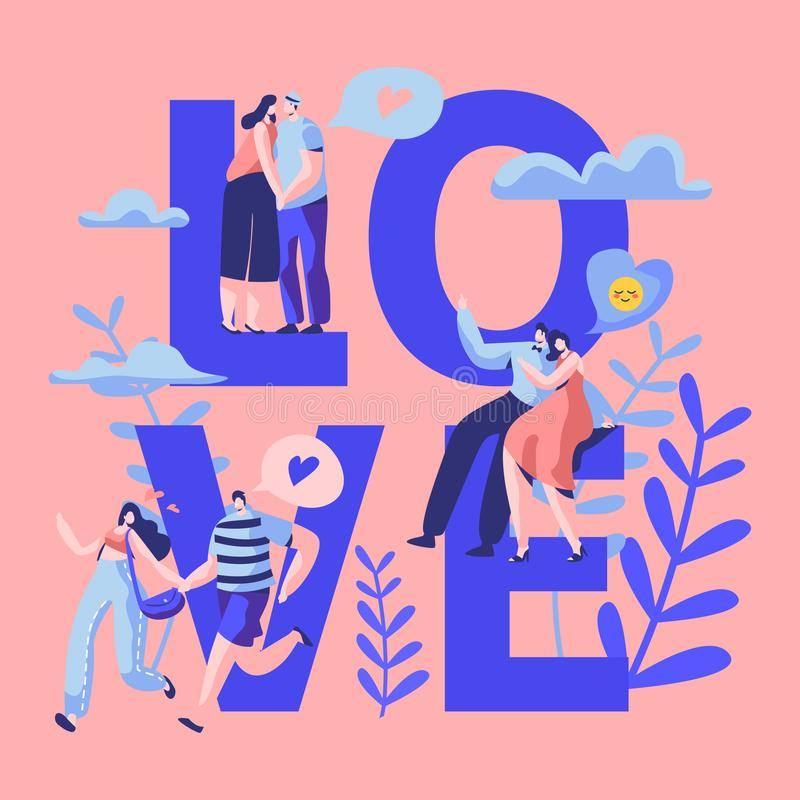Love Couple Character Dating Typography Banner. Happy Lover Hug, Kiss, Sitting on Park Bench. Woman Man Romantic Flirt royalty free illustration