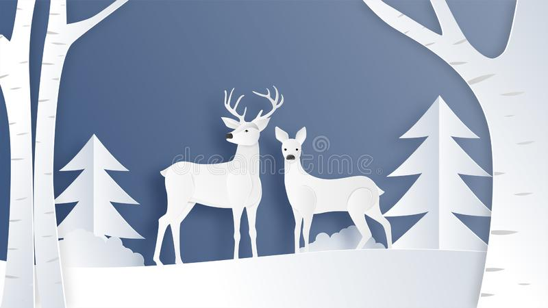 Love couple of deer in winter field with pine tree and branches in paper cut style. Creative vector illustration Christmas. Celebration. Backdrop, Poster vector illustration