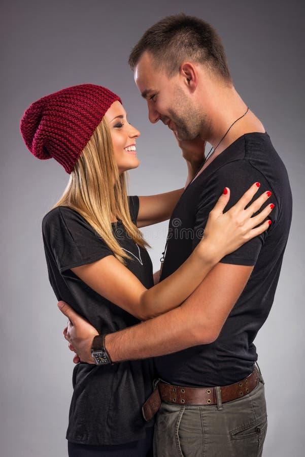 Love Couple, embrace the studio royalty free stock photos