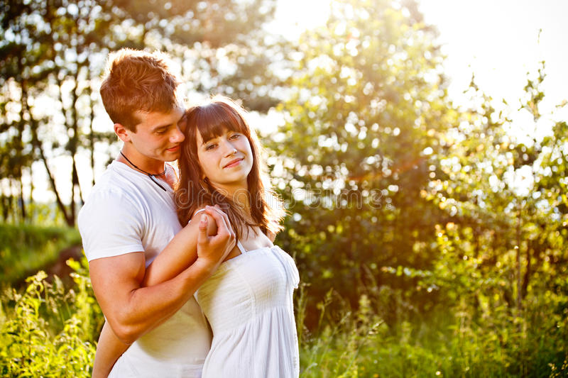 Love couple embracing stock image