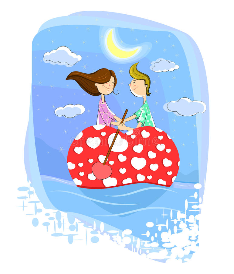 Love couple on heart shaped boat. This is file of EPS10 format stock illustration