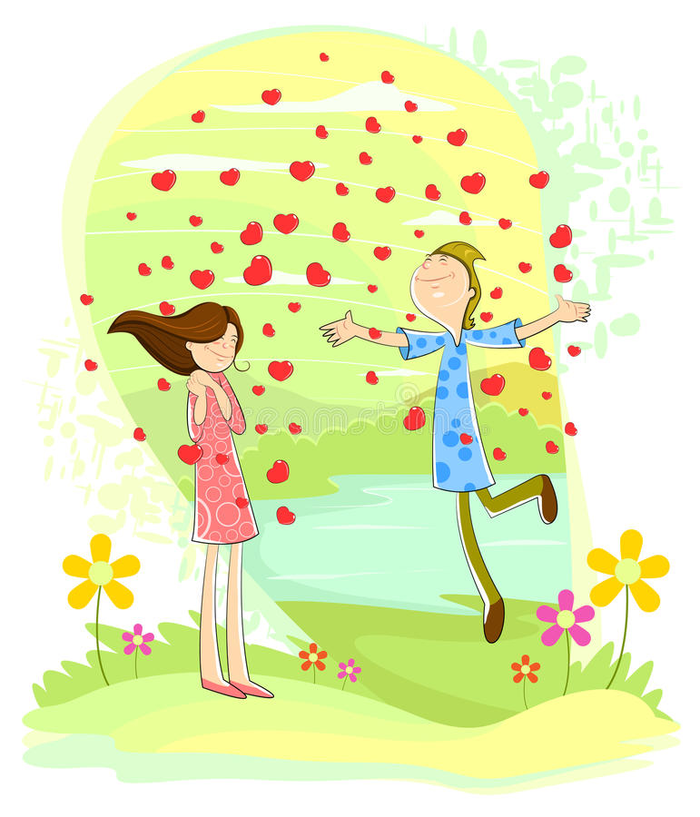 Love couple with heart showering royalty free illustration