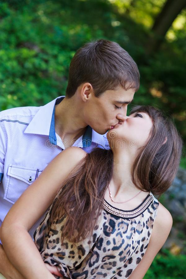 Download In Love Couple Kiss In A Summer Green Park Stock Image - Image of caucasian, nature: 29256161