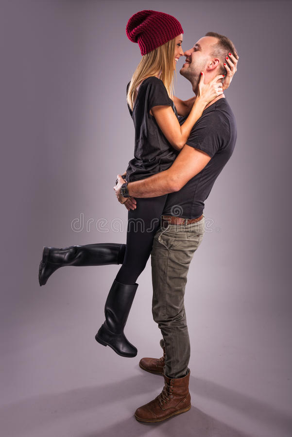 Love Couple kissing the studio royalty free stock images