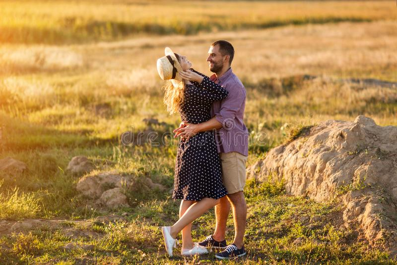 Love Couple in love romantic summer field happy stock image