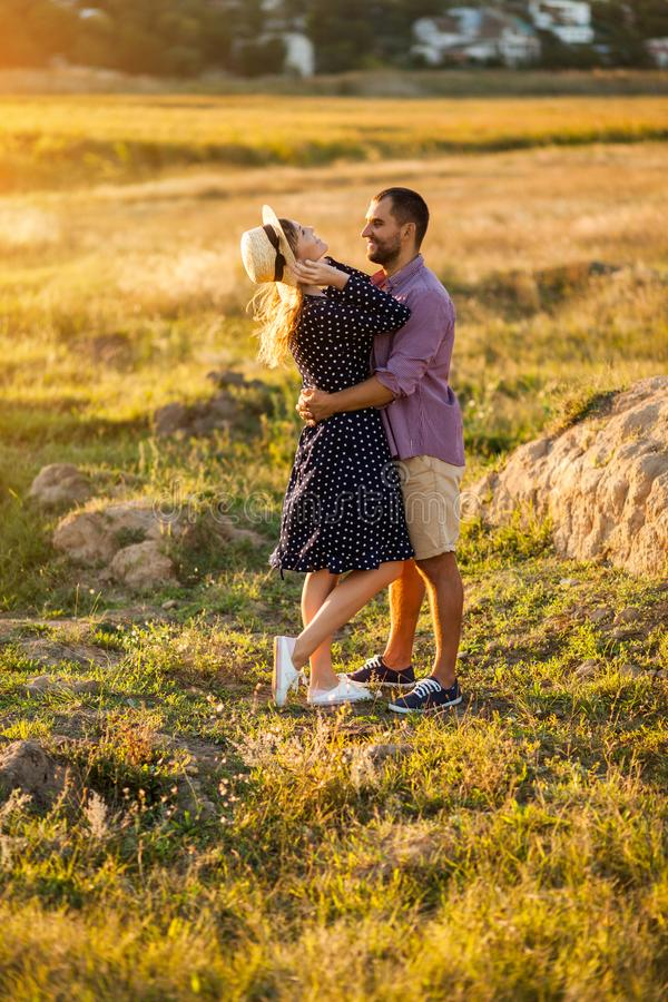 Love Couple in love romantic summer field happy stock photography