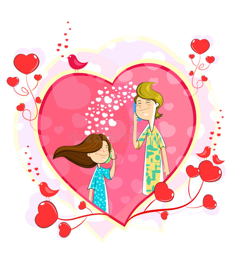 Love couple making telephone call. In heart shape stock illustration