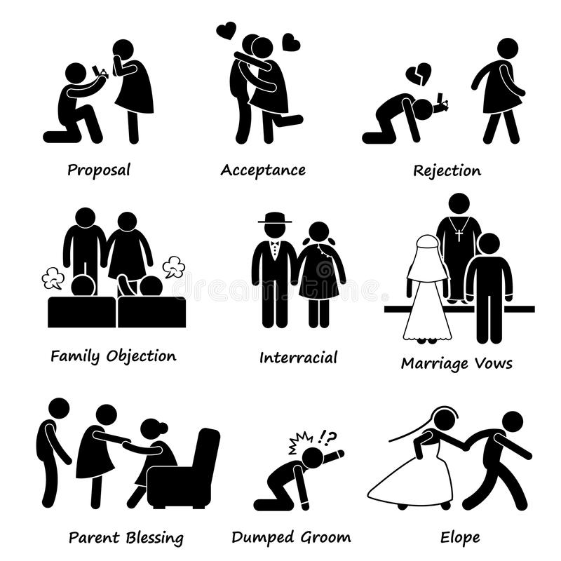 Love Couple Marriage Problem difficulty Cliparts vector illustration