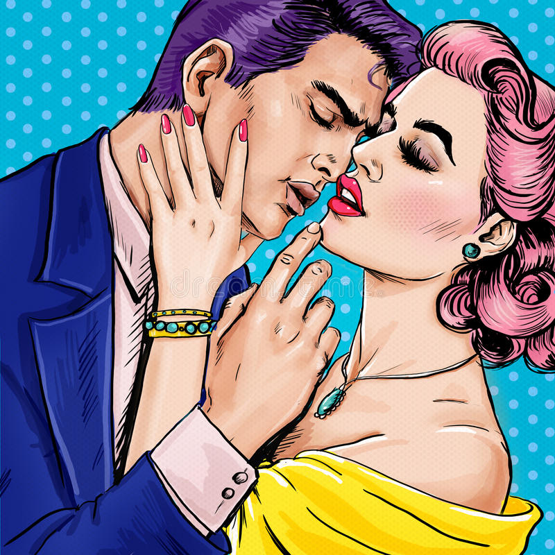 Love couple.Pop Art Couple.Pop Art love. Valentines day postcard. Hollywood movie scene. Love Pop Art illustration Pop Art love. royalty free illustration