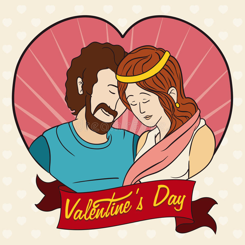 In-love Couple Portrait for Valentine's Day, Vector Illustration stock photos