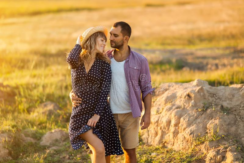Love Couple in love romantic summer field happy stock images