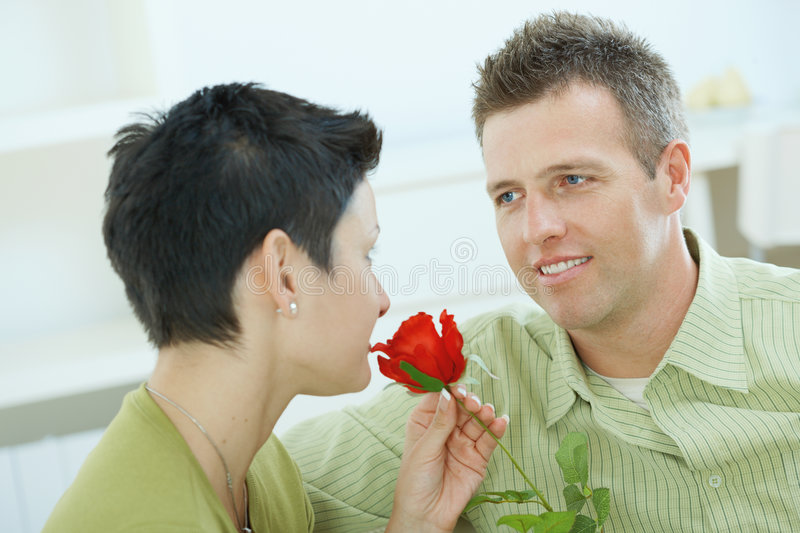 Love couple with rose royalty free stock image