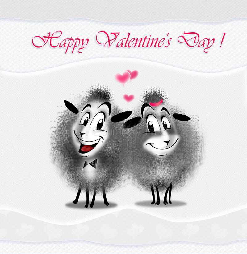 Love couple sheep. Love, couple sheep with love message. Digital illustration. Couple sheep on white wave background and love message: Happy Valentine Day vector illustration