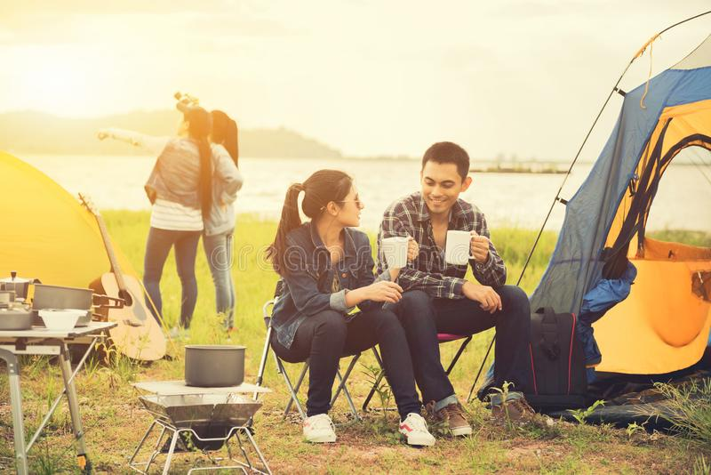Love Couple Travel and camping at natural park. Recreation and journey outdoor activity. stock photos
