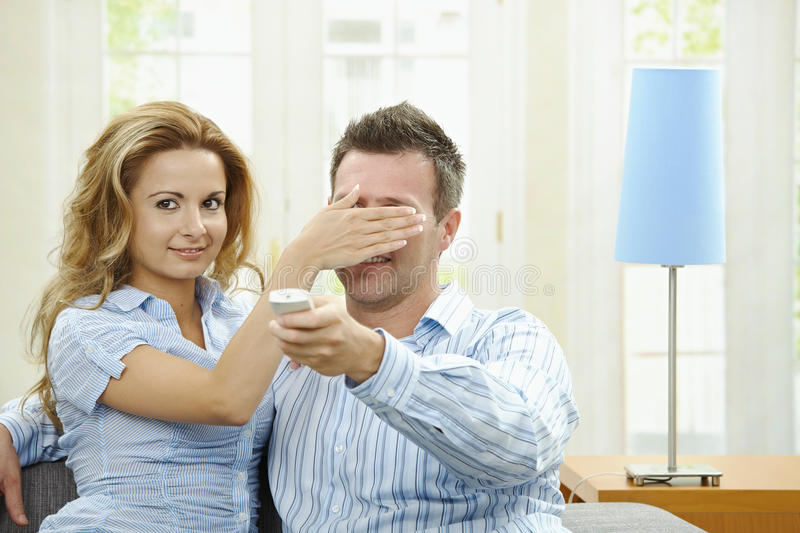 Download Love couple watching TV stock photo. Image of couch, arms - 11223678